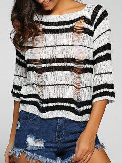 Striped Round Neck Ripped Sweater - Black