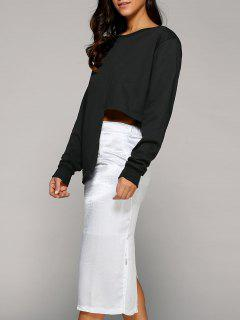 Asymmetric Sweatshirt With Slit Skirt - White And Black