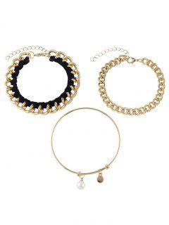 Chain Faux Pearl Jewelry Set Bracelets - Golden
