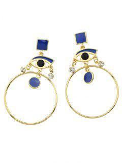 Rhinestone Circle Eye Geometric Drop Earrings - Blue