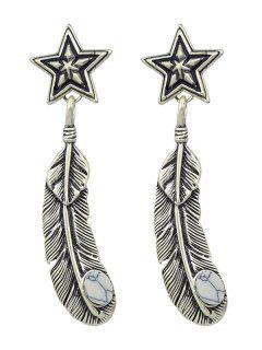 Faux Rammel Pentagram Leaf Feather Earrings - Silver