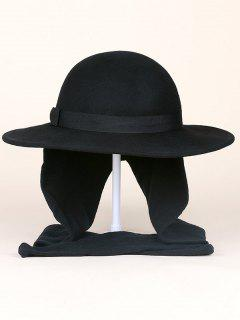 Wide Brim Wool Felt Bowknot Strappy With Scarf Fedora Hat - Black