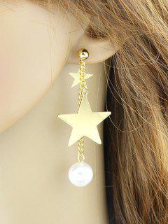 Chain Layered Faux Pearl Pentagram Earrings - Golden