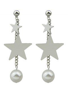 Chain Layered Faux Pearl Pentagram Earrings - Silver