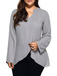 Front Slit Plus Size Loose Fitting Blouse - Light Gray Xl