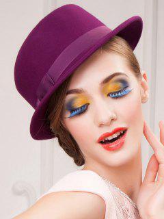 Wide Brim Wool Felt Bowknot Strappy Fedora Hat - Violet