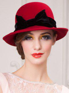 Wide Brim Wool Felt Big Bowknot Fedora Hat - Red