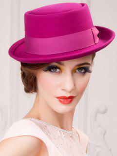 Embellished Flanging Wool Bowknot Flat Top Fedora Hat - Purple