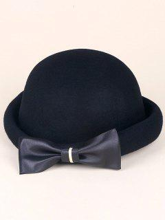 Wool Felt Big Bowknot Fedora Hat - Black