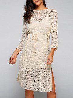 Side Slit Scoop Neck Hollow Out Knitted Dress - Apricot