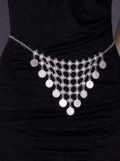 Coins Alloy Triangle Belly Chain - Silver
