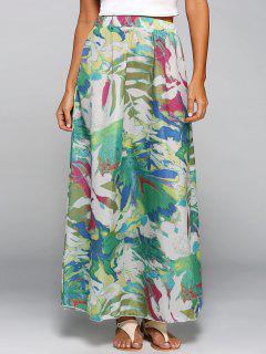 Printed Chiffon Maxi Skirt - S