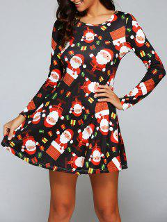 Christmas Gift Print Long Sleeve Dress - Black S