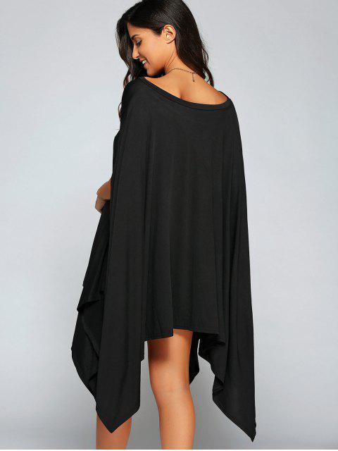 women Loose Asymmetric One-Shoulder Bat-Wing Sleeve Dress - BLACK S Mobile