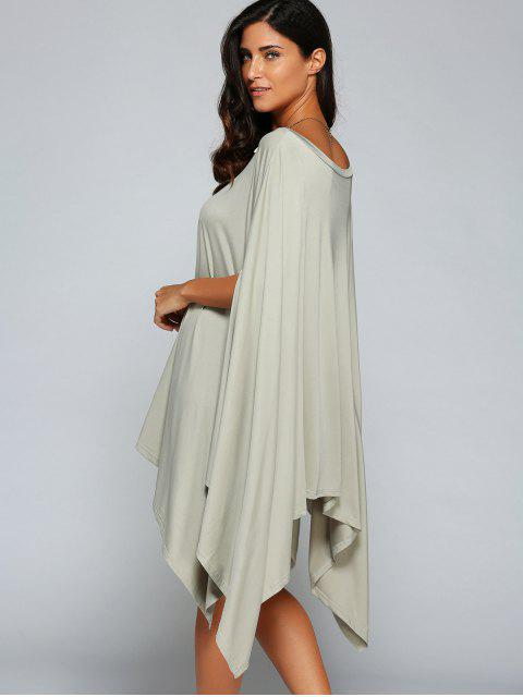robe à manches asymétrique en forme de chauve-souris à une épaule - Gris S Mobile
