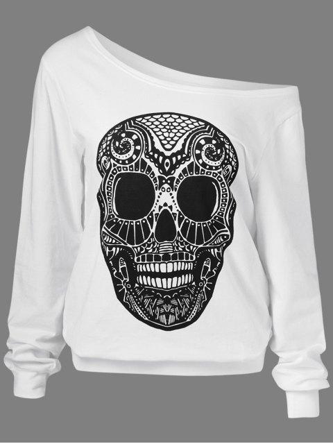 latest Oblique Shoulder Skulls Print Sweatshirt - WHITE L Mobile