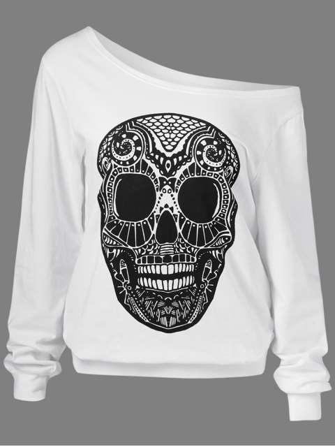 trendy Oblique Shoulder Skulls Print Sweatshirt - WHITE M Mobile