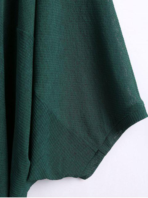 affordable Batwing Sleeve Plus Size Cardigan - GREEN 2XL Mobile
