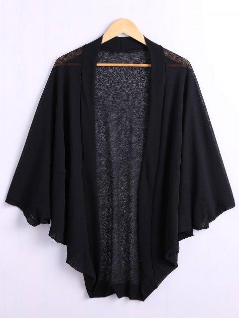 womens Batwing Sleeve Plus Size Cardigan - BLACK 4XL Mobile
