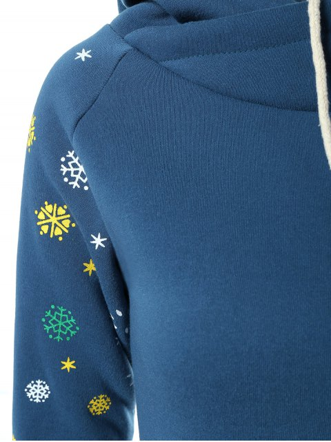 new Snowflake Print Hoodie Dress - BLUE XL Mobile