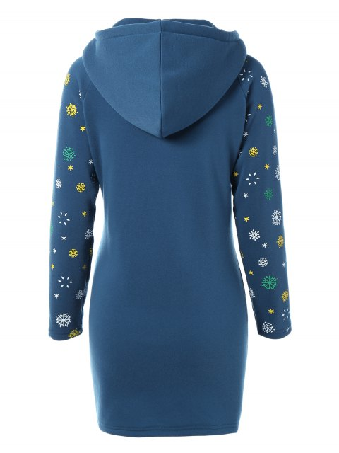 hot Snowflake Print Hoodie Dress - BLUE L Mobile