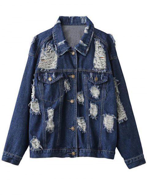 Distressed Denim Jacket - Bleu Violet S Mobile