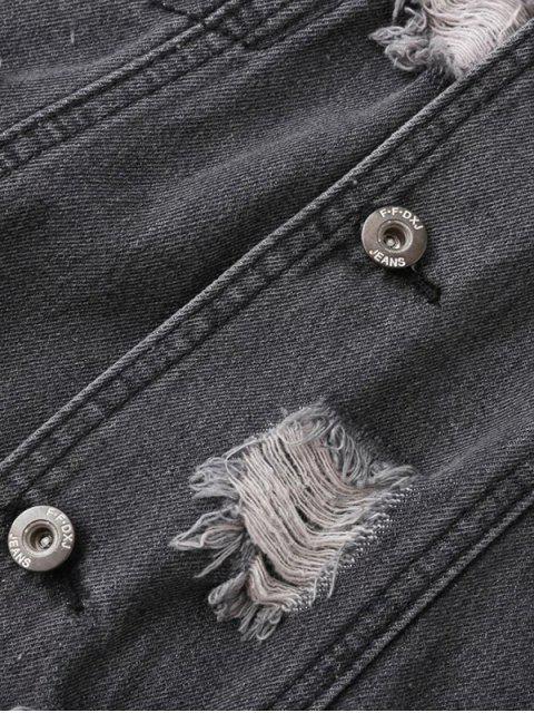 chic Distressed Denim Jacket - PURPLISH BLUE S Mobile