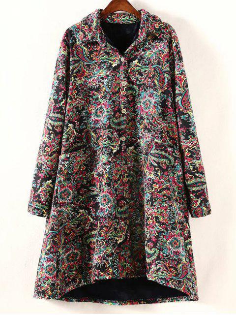 chic Retro Print Plus Size Fleece Coat -   Mobile