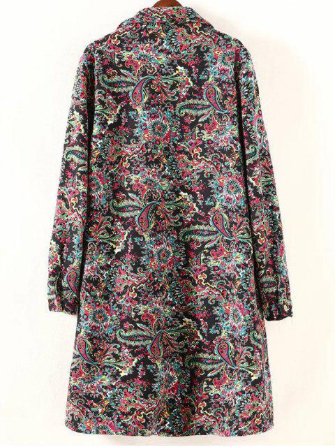 chic Retro Print Plus Size Fleece Coat - BLACK 3XL Mobile