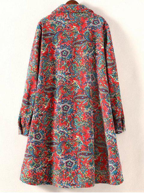 buy Retro Print Plus Size Fleece Coat - RED 2XL Mobile