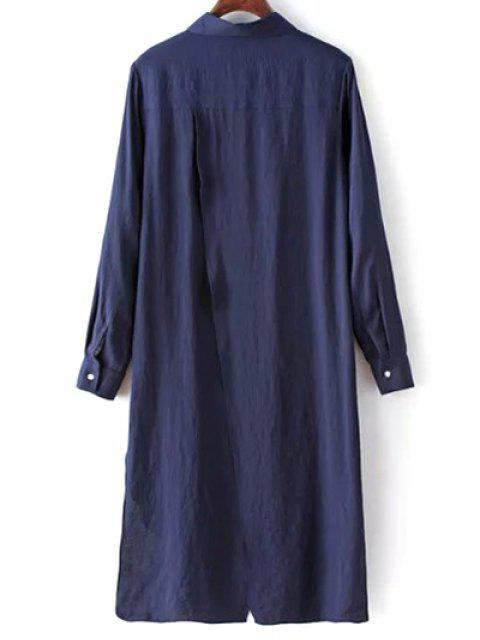 High Low Single-breasted Robe chemise - Bleu Violet S Mobile