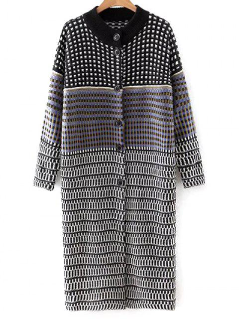 womens Checked Single-Breasted Cardigan - COLORMIX ONE SIZE Mobile