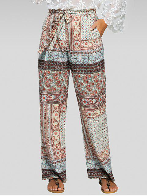 outfit Belted Printed Palazzo Pants - COLORMIX M Mobile