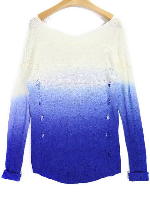 best Ombre V Neck High Low Ripped Sweater - BLUE AND WHITE ONE SIZE Mobile