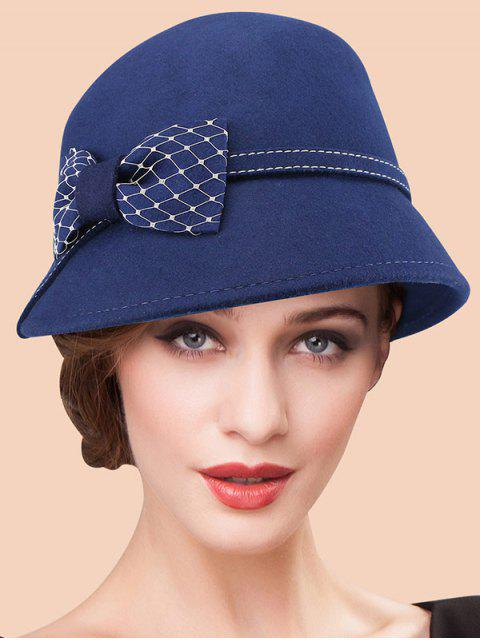 Vintage Winter Warm Wide Brim Wollfilz Bowknot Fedora-Hut - Azurblau  Mobile