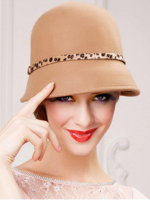 Hiver Laine chaud Leopard Grain Belt Fedora Hat - Antique Brun  Mobile