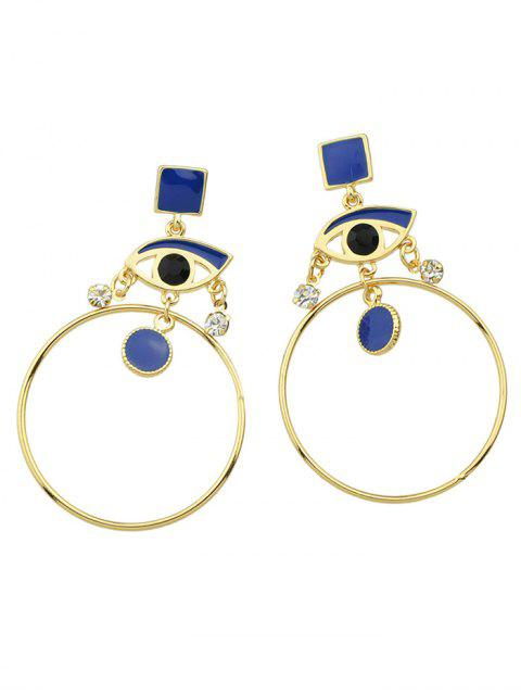 fashion Rhinestone Circle Eye Geometric Drop Earrings - BLUE  Mobile