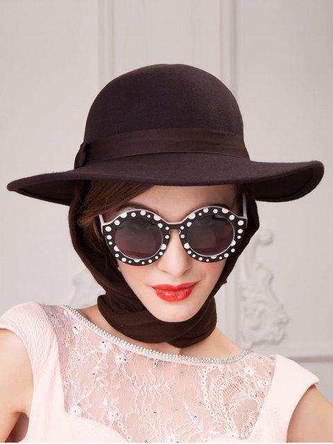 fashion Wide Brim Wool Felt Bowknot Strappy With Scarf Fedora Hat - COFFEE  Mobile