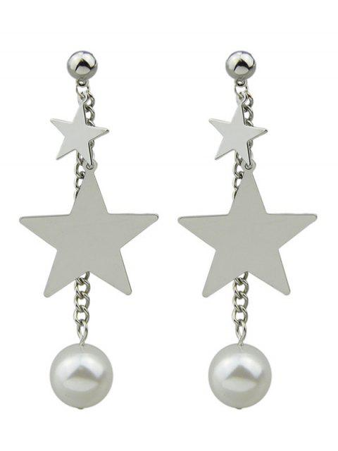 unique Chain Layered Faux Pearl Pentagram Earrings - SILVER  Mobile