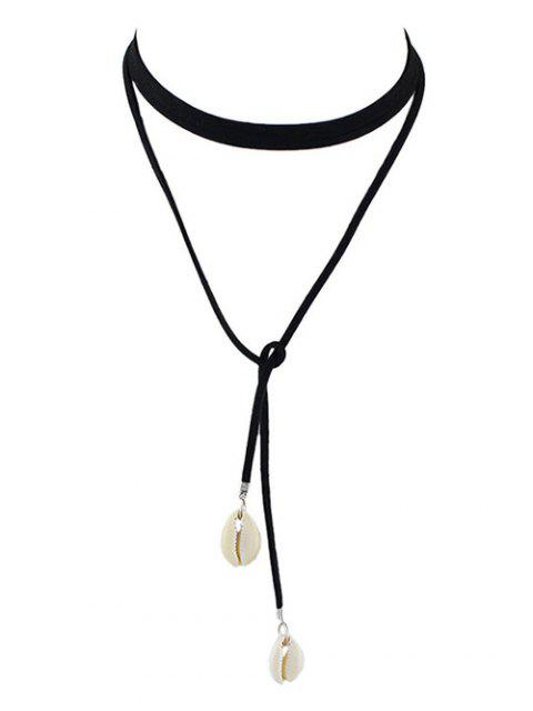 hot Conch Faux Leather Rope Choker Necklace - BLACK  Mobile