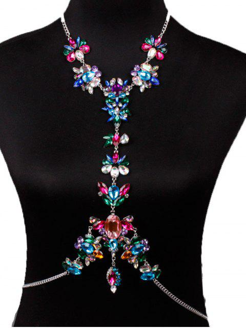 sale Faux Crystal Floral Leaf Body Chain - RED  Mobile