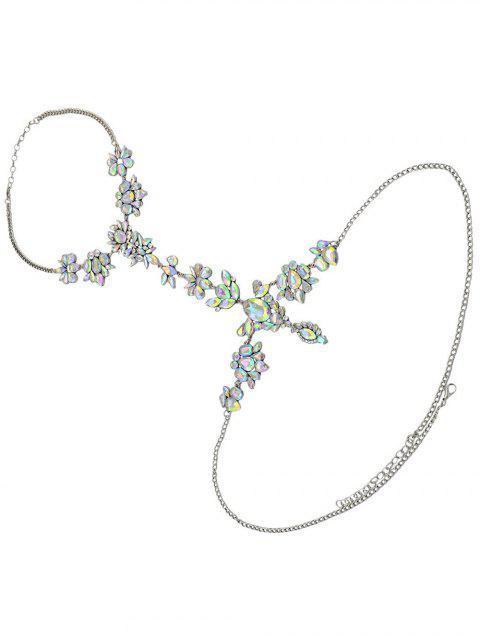 Chaîne du corps en diamants artificieux avec décoration en forme de fleur et de feuille - Blanc  Mobile