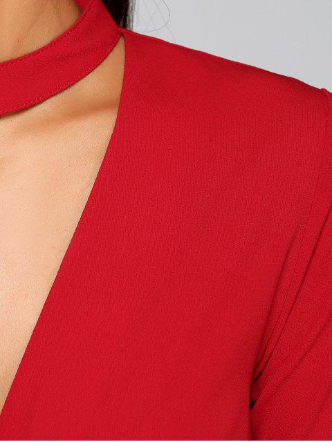 Crossover Choker Blouse - Rouge S Mobile