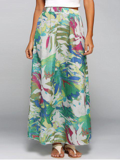 women's Printed Chiffon Maxi Skirt - COLORMIX S Mobile