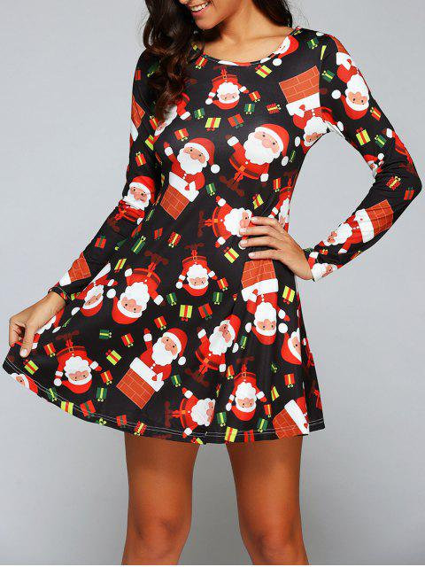 womens Christmas Gift Print Long Sleeve Dress - BLACK XL Mobile