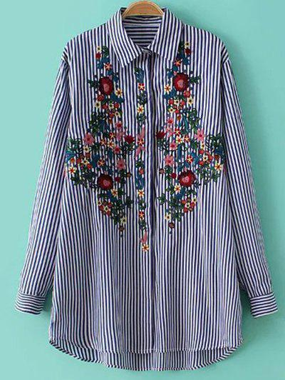 Striped Floral Embroidered Collared Shirt - Stripe M
