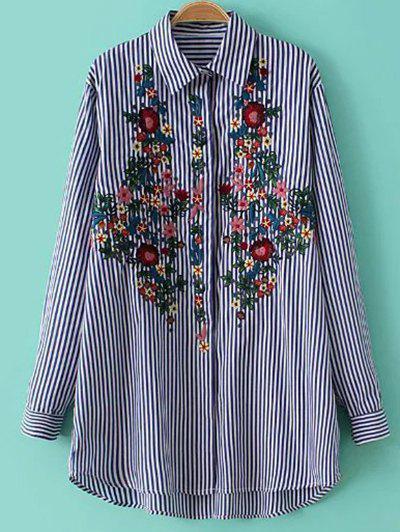 Camisa A Rayas Bordado Floral - Raya M