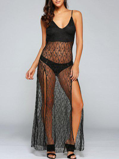 See Through Backless Sheer Lace Cami Dress
