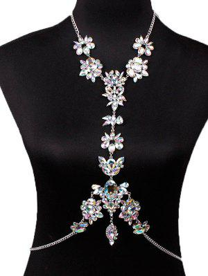 Faux Crystal Floral Leaf Body Chain - White