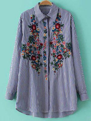 Striped Floral Embroidered Collared Shirt